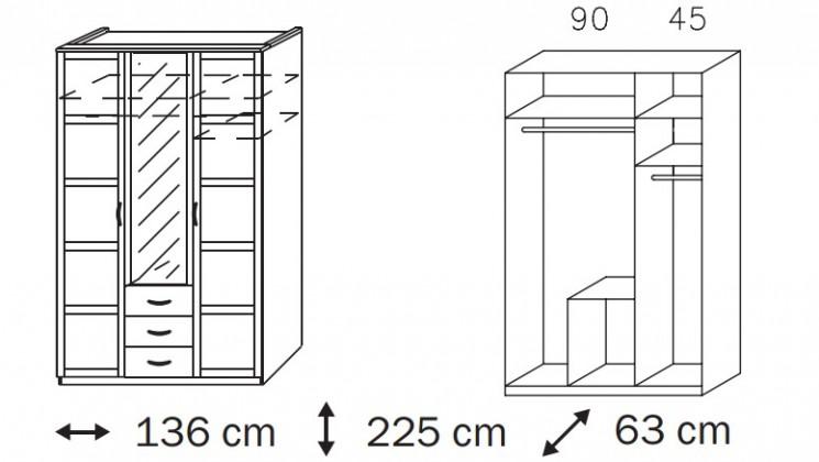 Klasická skříň Elementa A A9186.50R3 (Alpská bílá/sklo bordó)