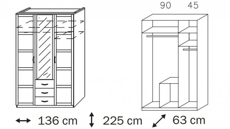 Klasická skříň Elementa A A9186.50S3 (Alpská bílá/sklo černé)