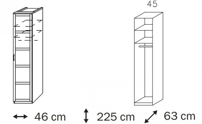 Klasická skříň Elementa A A9186.50U1 (Alpská bílá/sklo světle hnědé)