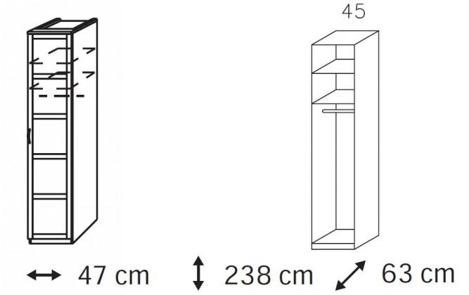 Klasická skříň Elementa A - šatní skříň, 1x dveře