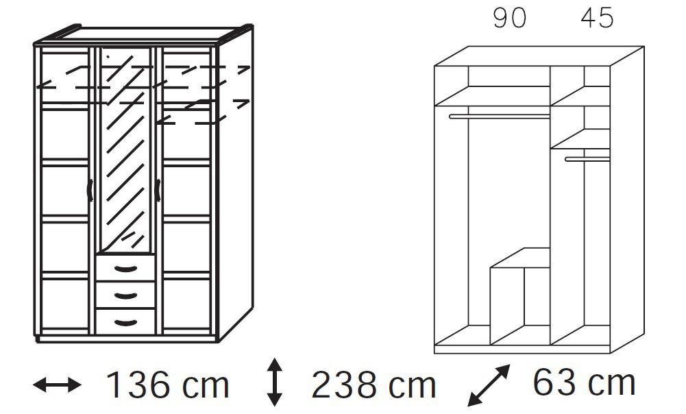 Klasická skříň Elementa A-šatní skříň,2x dveře,1xdveře se zrcadlem,3x zásuvka