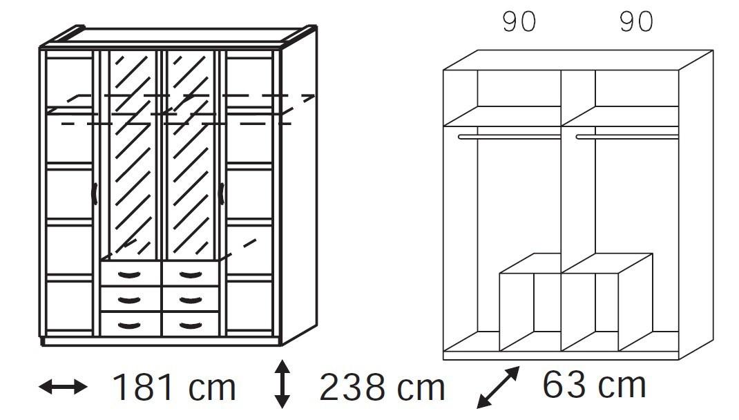 Klasická skříň Elementa A-šatní skříň,2x dveře,2x dveře se zrcadlem,6x zásuvka