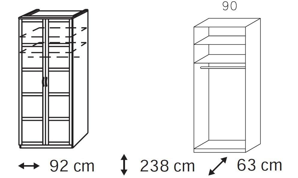 Klasická skříň Elementa A - šatní skříň, 2x dveře