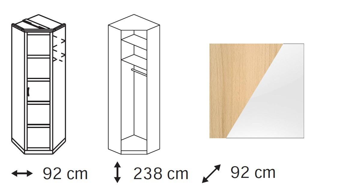 Klasická skříň Elementa A - skříň rohová, 1x dveře