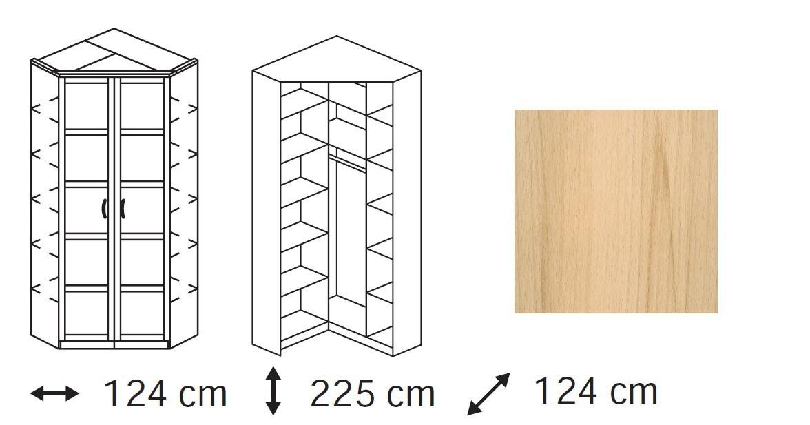 Klasická skříň Elementa A - skříň rohová, 2x dveře se zrcadlem