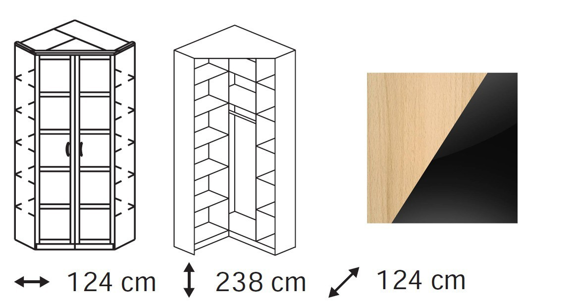 Klasická skříň Elementa A - skříň rohová, 2x dveře