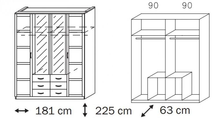 Klasická skříň Elementa B A9187.50R4 (Alpská bílá/sklo bordó)