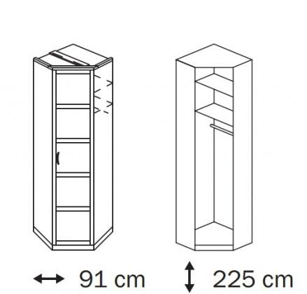 Klasická skříň Elementa B A9187.50S5 (Alpská bílá/sklo černé)