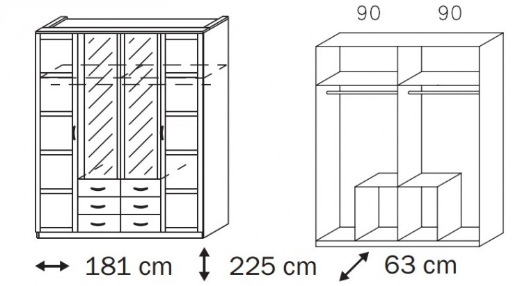Klasická skříň Elementa B A9187.5181 (Alpská bílá)