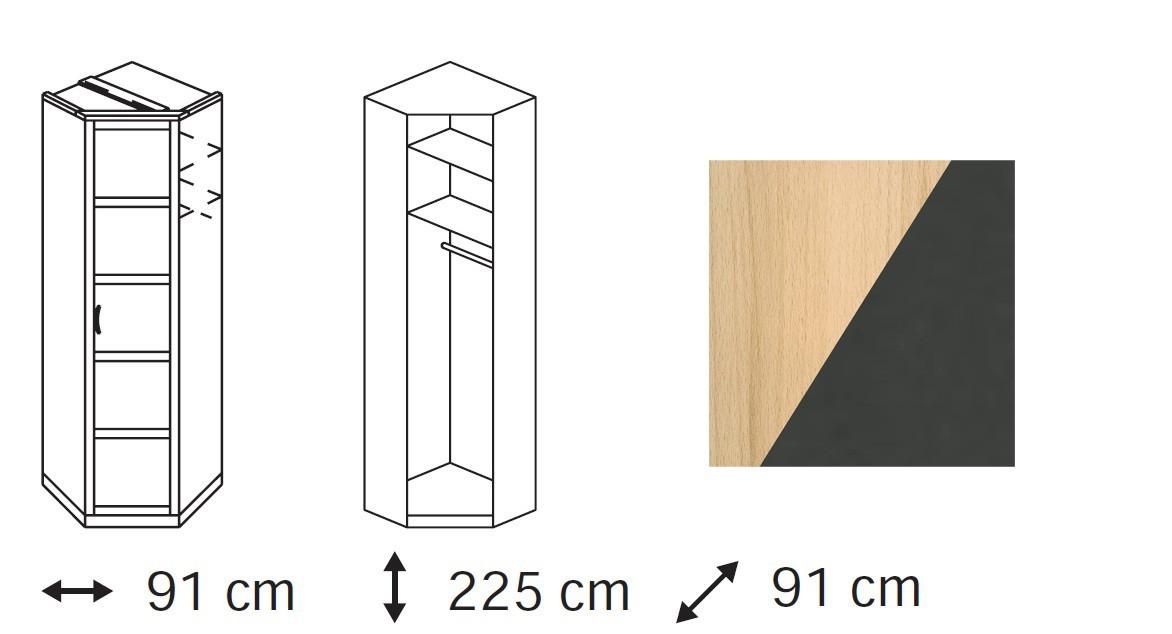 Klasická skříň Elementa B (Buk natur/šedá metal)