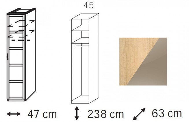 Klasická skříň Elementa B - šatní skříň, 1x dveře