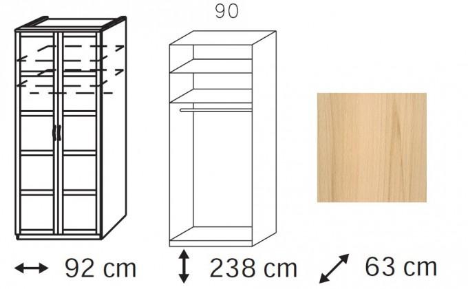 Klasická skříň Elementa B - šatní skříň, 2x dveře