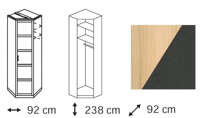 Klasická skříň Elementa B - skříň rohová, 1x dveře