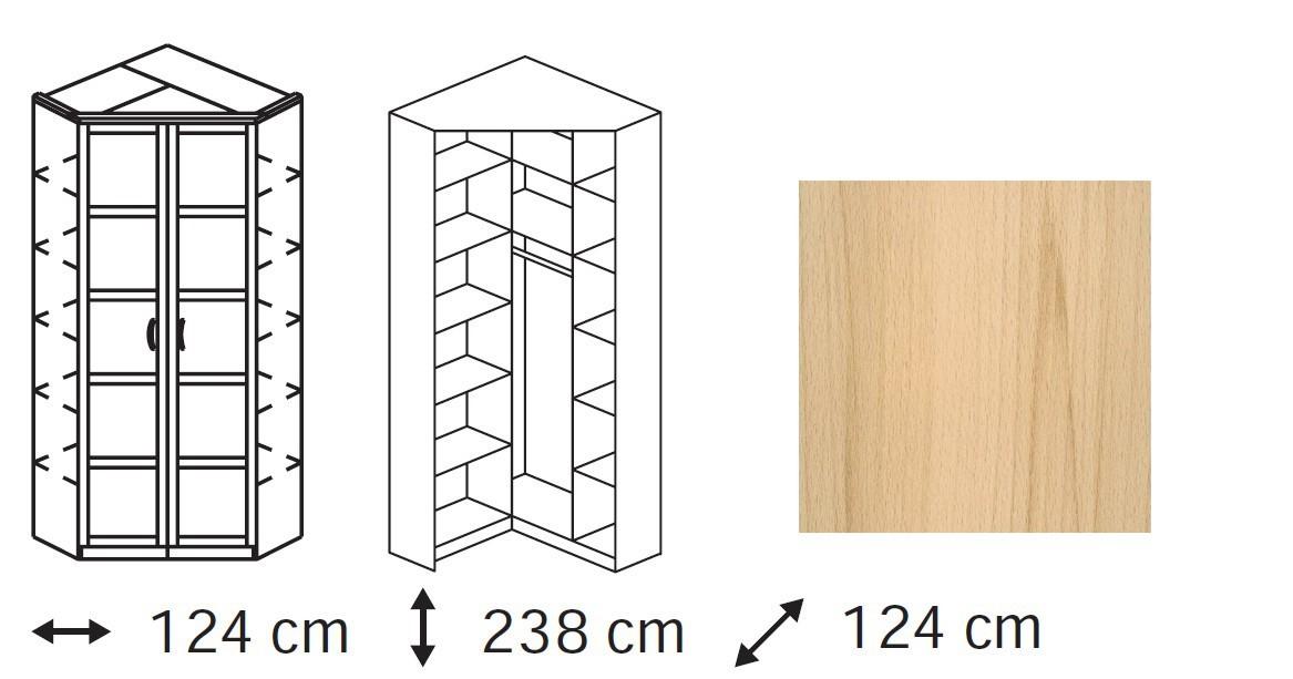 Klasická skříň Elementa B - skříň rohová, 2x dveře