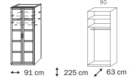 Klasická skříň Elementa C A1008.50U2 (Buk natur/sklo světle hnědé)