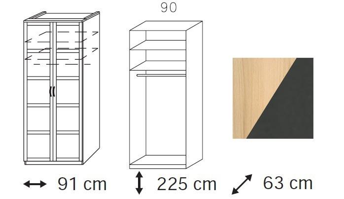 Klasická skříň Elementa C A1098.4094 (Buk natur/šedá metal)