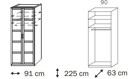 Klasická skříň Elementa C A9188.50R2 (Alpská bílá/sklo bordó)