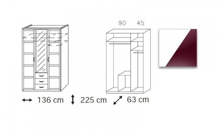 Klasická skříň Elementa C (Alpská bílá/sklo bordó)
