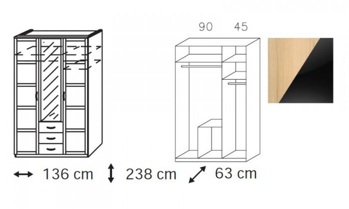 Klasická skříň Elementa C-šatní skříň,2x dveře,1xdveře se zrcadlem,3x zásuvka