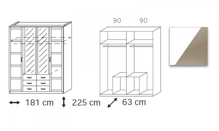 Klasická skříň Elementa C-šatní skříň,2x dveře,2x dveře se zrcadlem,6x zásuvka