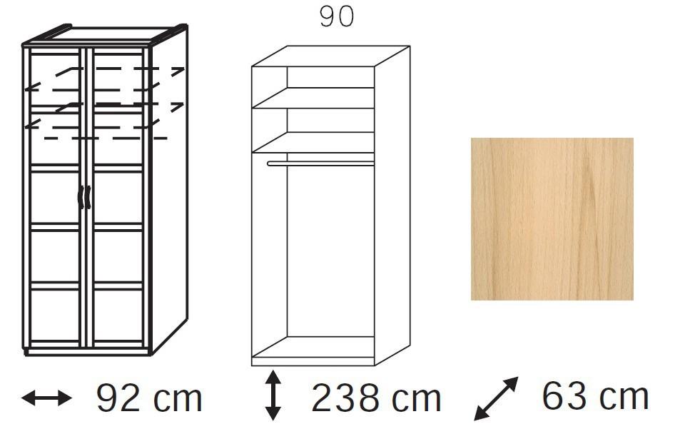 Klasická skříň Elementa C - šatní skříň, 2x dveře