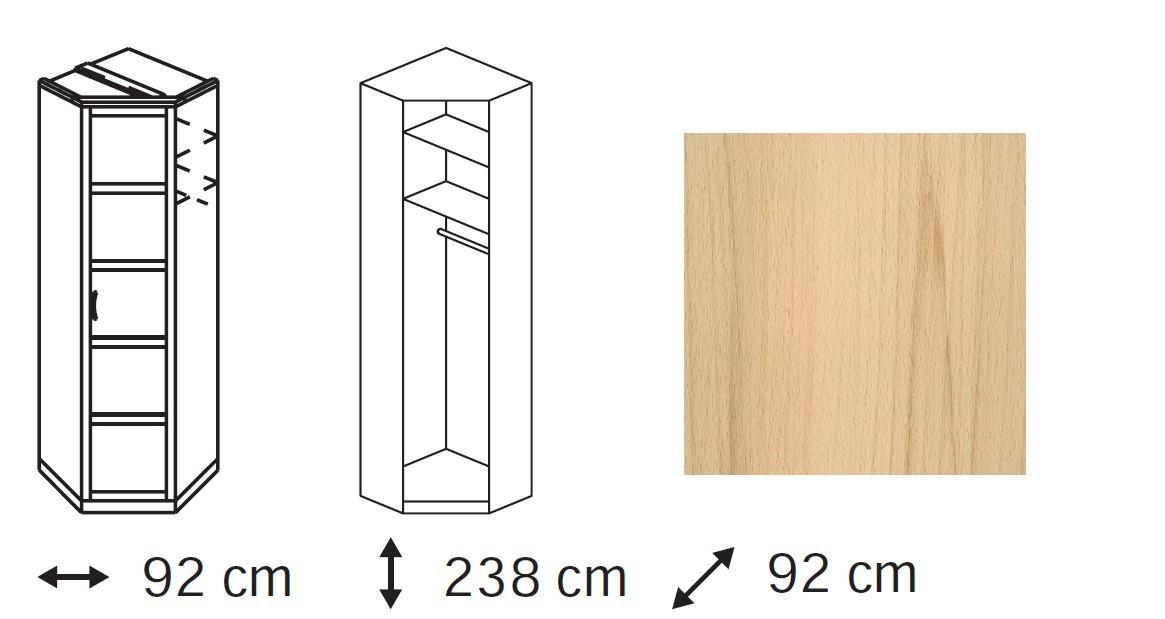 Klasická skříň Elementa C - skříň rohová, 1x dveře