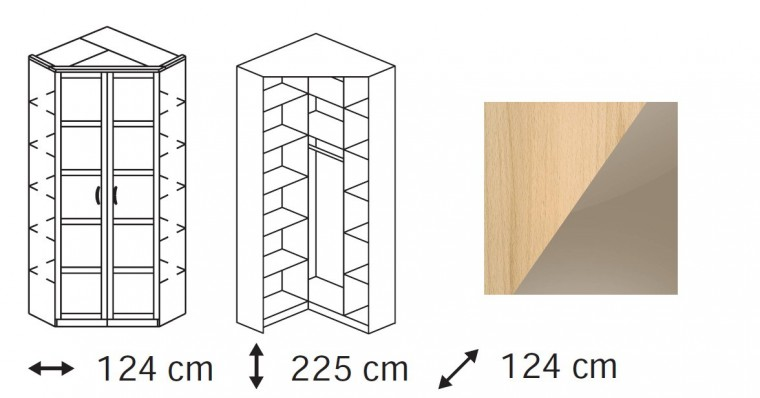 Klasická skříň Elementa C - skříň rohová, 2x dveře