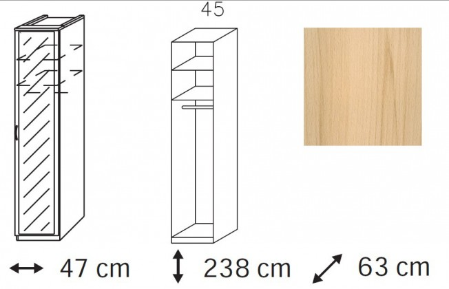Klasická skříň Elementa - šatní skříň, 1x dveře se zrcadlem