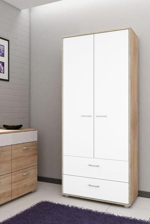 Klasická skříň Homeline - 3 dveře, 2 šuplíky (dub, bílá, vysoký lesk)
