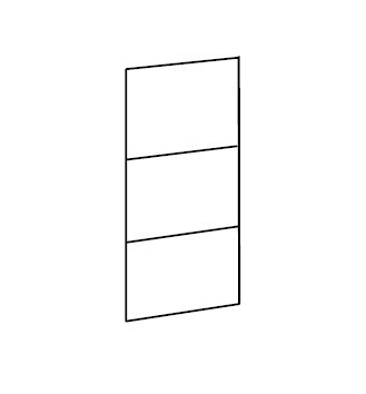 Klasická skříň Match Up - Dveře, 3x dekor sklo/zrcadlo (313,černé sklo)
