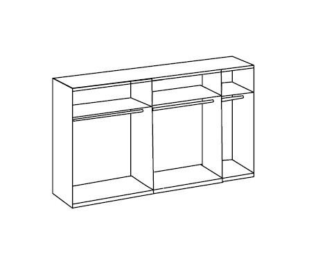 Klasická skříň Match Up - Korpus s posuv dveřmi (dub zdrsněný 931)