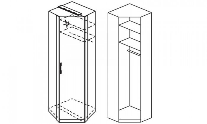 Klasická skříň Modena B - Skříň šatní rohová, 1x dveře