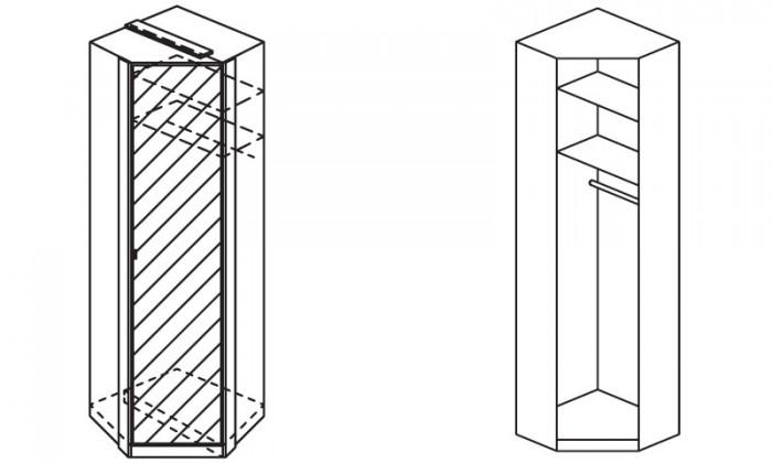 Klasická skříň Modena B - Skříň šatní rohová, 1x dveře se zrcadlem
