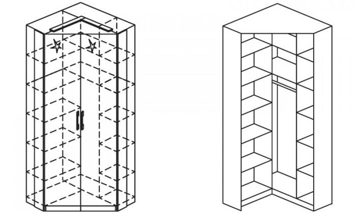 Klasická skříň Modena B - Skříň šatní rohová, 2x dveře
