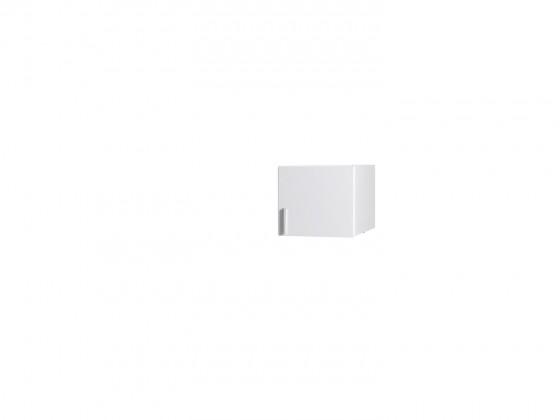 Klasická skříň Nástavec Snow - 1D (bílá/bílá vysoký lesk)
