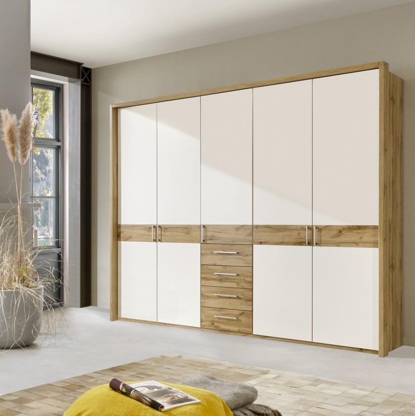 Klasická skříň Padua - Skříň, 5x dveře, 4x zásuvka (dub balken/alpská bílá)