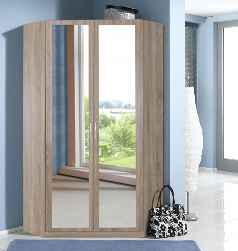 Klasická skříň Rohová skříň Sprint - 198 cm,2x zrcadlo (dub hrubá struktura)