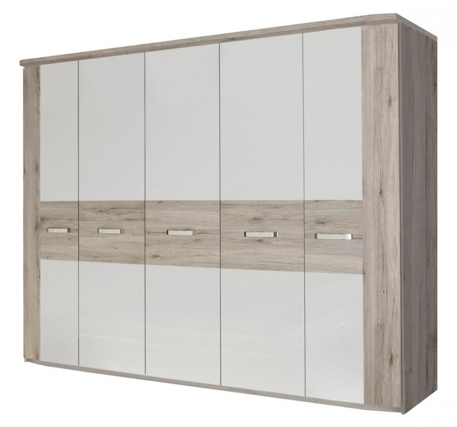 Klasická skříň Rondino - RDNS951 T30 (dub pískový/bílý lesk)