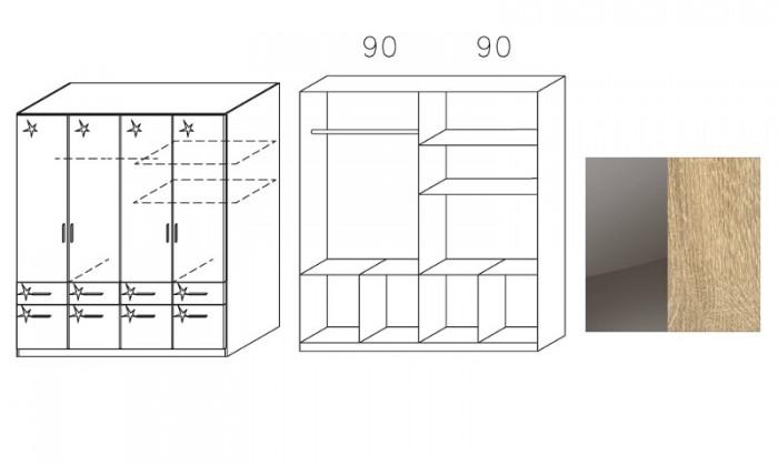 Klasická skříň Šatní skříň Celle, 4x dveře