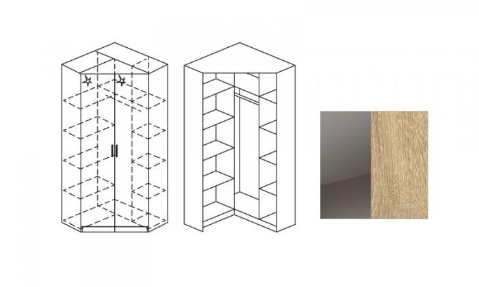 Klasická skříň Šatní skříň rohová Celle, 2x dveře