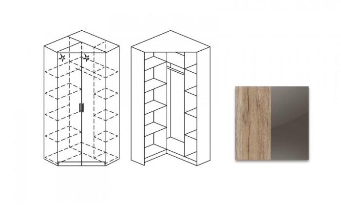 Klasická skříň Šatní skříň rohová Celle, 2x dveře se zrc.