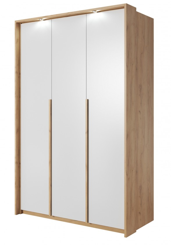 Klasická skříň Šatní skříň Xelo 141 cm (dub zlatý/bílá)