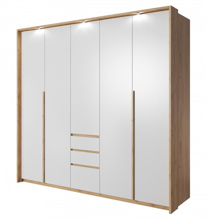 Klasická skříň Šatní skříň Xelo 230 cm (dub zlatý/bílá)