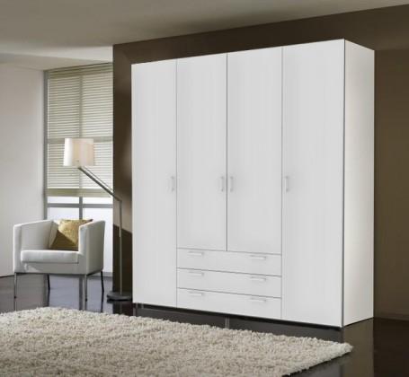 Klasická skříň Space - 4 dveře (bílá, vysoký lesk)