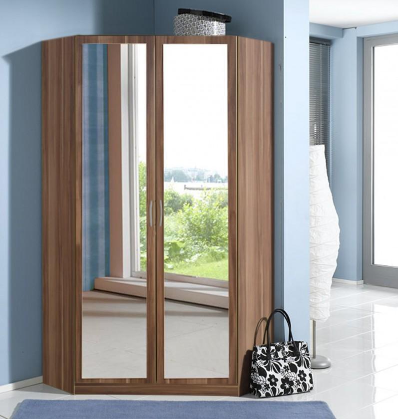 Klasická skříň Sprint - rohová skříň,198 cm,2x zrcadlo (francouzský ořech)