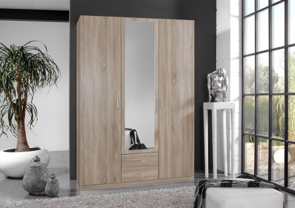Klasická skříň Sprint - skříň 135 cm,3x dveře,1x zrcadlo (dub hrubá struktura)