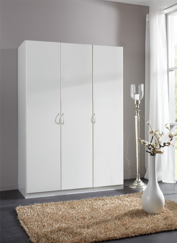 Klasická skříň Sprint - skříň 135 cm,3x dveře,2x tyč (alpská bílá)