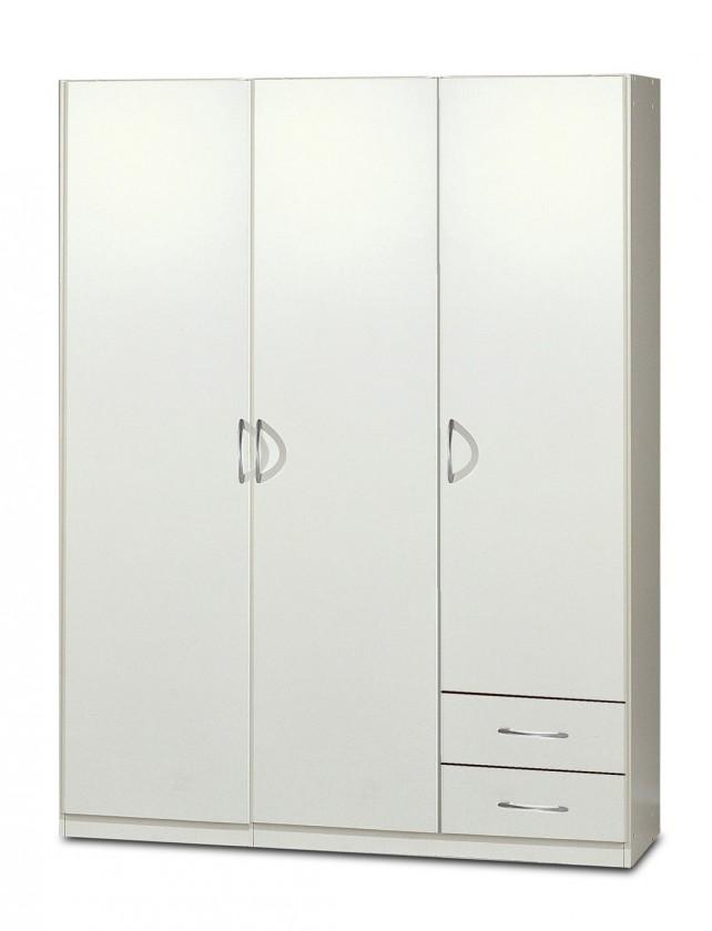 Klasická skříň Sprint - skříň 135 cm,3x dveře,3x police (alpská bílá)