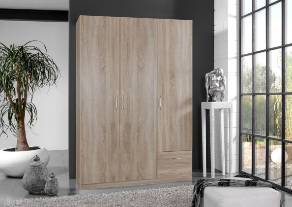 Klasická skříň Sprint - skříň 135 cm,3x dveře,3x police (dub hrubá struktura)