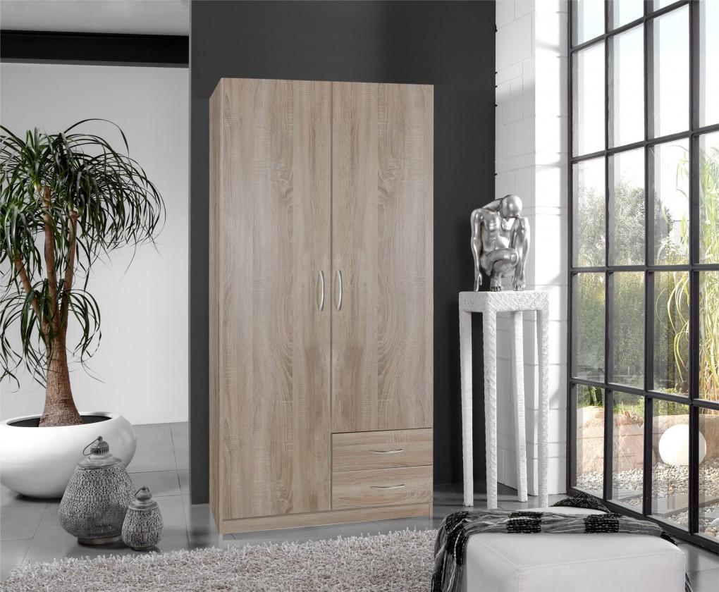 Klasická skříň Sprint - skříň 90 cm,2x dveře,2x zásuvka (dub hrubá struktura)